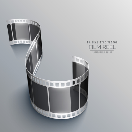 strip design: 3d film strip on gray background design