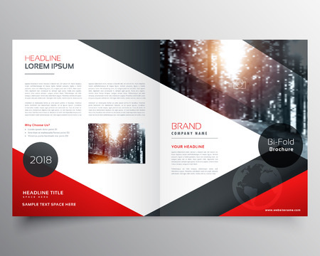 Bi fold business brochure vector template