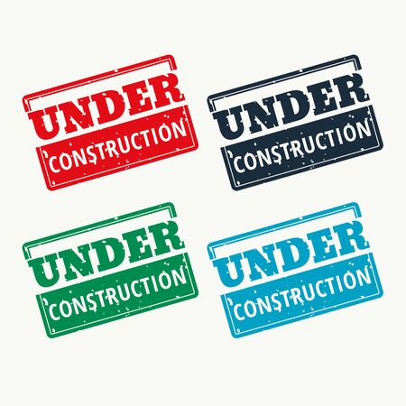 Under construction sign rubber stamp vector in four colors