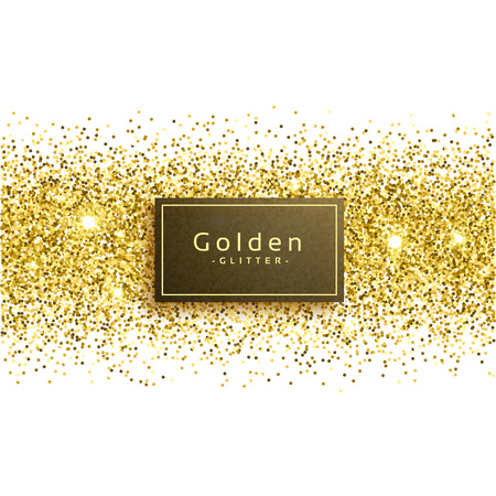 Golden glitter on white background