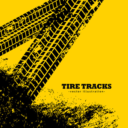 tire tracks marks on grunge yellow background