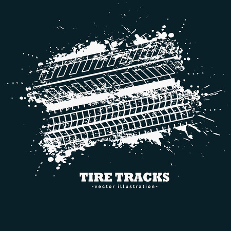skid: abstract grunge tire tracks marks on dark background