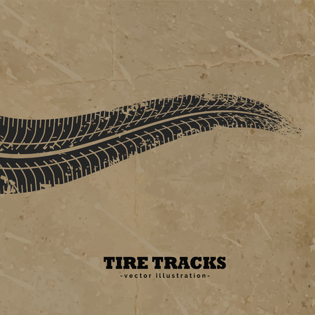 skid: tire tracks on mud background vector