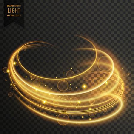 golden curvy transparent light effect with sparkles Illustration