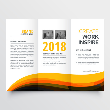 orange and black wavy trifold business brochure  concept design template