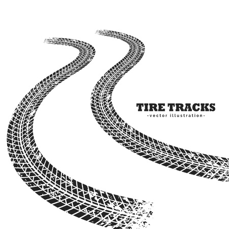 skid: Road tire tracks on white background in perspective