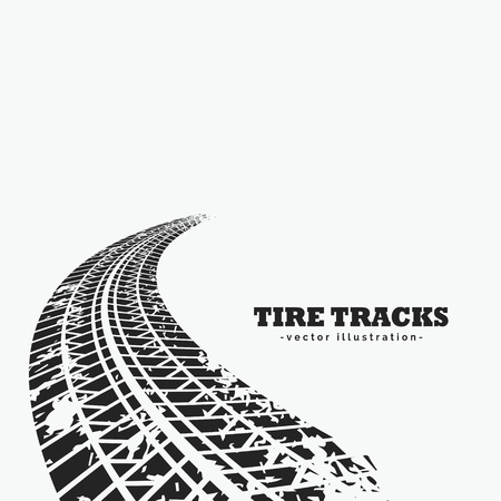 Dirty tire tracks fading into the horizon Illustration