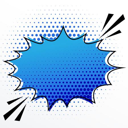 blank comic speech burst bubble with halftone effect Illustration