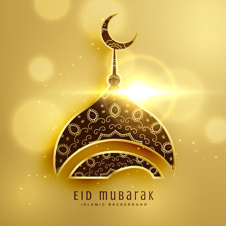 beautiful mosque design for islamic eid festival with golden decoration Illustration