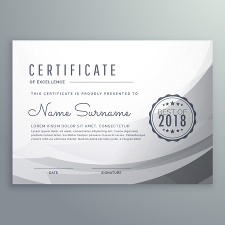 Clean gray diploma certificate design template