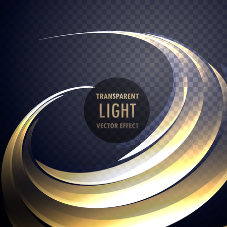 abstract transparent light effect swirl with neon gold curves