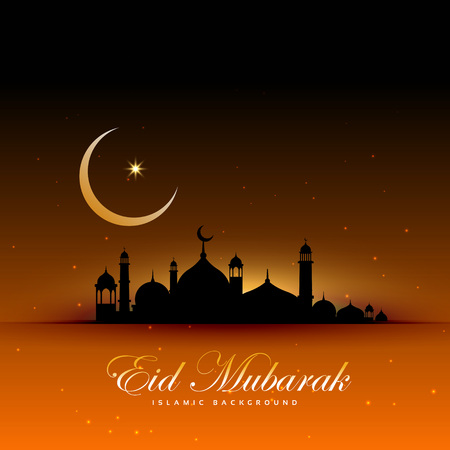 awesome eid mubarak background with mosque and moon Illustration