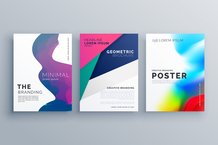 size: set of minimal brochure template leaflet flyer design in A4 size made with geometric shapes and fluid colors