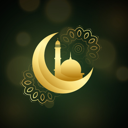 crescent moon with mosque for islamic festival Illustration