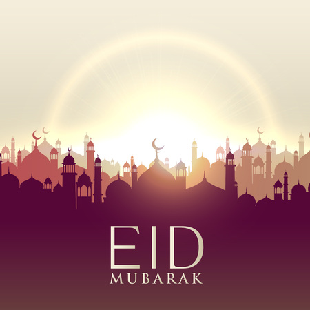 silhouttes: Eid mubarak card with mosque silhouttes