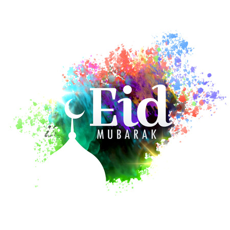 religious event: Eid mubarak festival greeting card design with watercolor effect