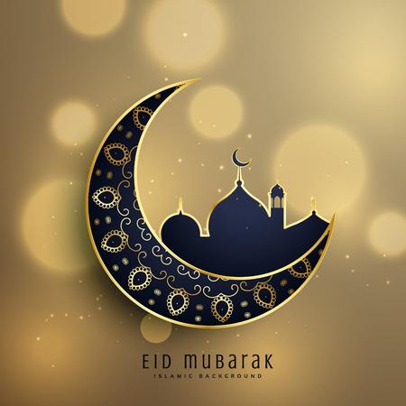 新月形月亮和清真寺与花卉装饰为穆斯林EID节日