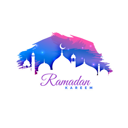 ramadan kareem background with mosque silhouette and watercolor background Illustration