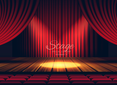 movie theater: Premium red curtains stage, theater or opera background with spotlight