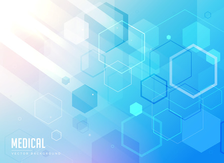 medical laboratory: medical care blue background with hexagonal geometric shapes