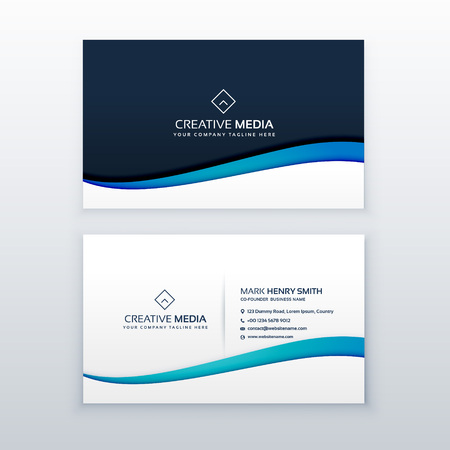 clean blue wave business card design template