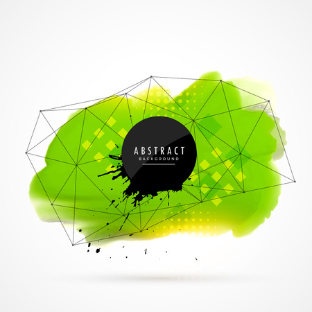 techology: green watercolor grunge with wireframe mesh