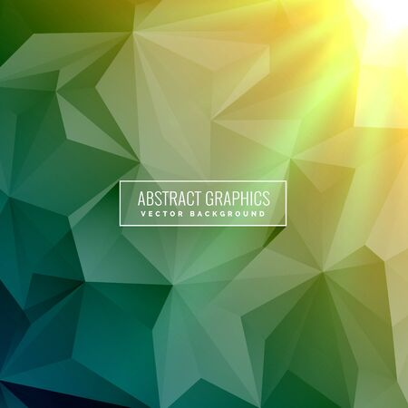 green abstract background made with low poly triangles