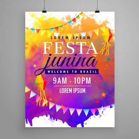 페스타 junina 파티 축하 초대장 전단지 디자인