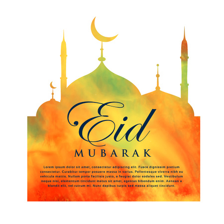 occasions: orange mosque silhouette for eid mubarak Illustration