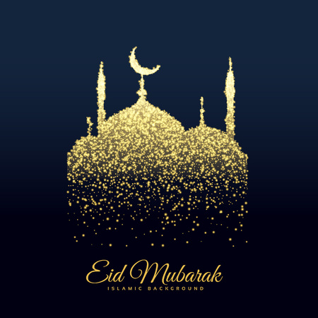 beautiful mosque made with glitters background