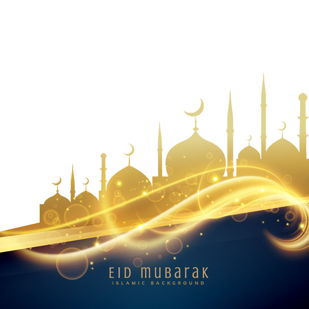 awesome eid festival greeting design with golden mosque and light glitter