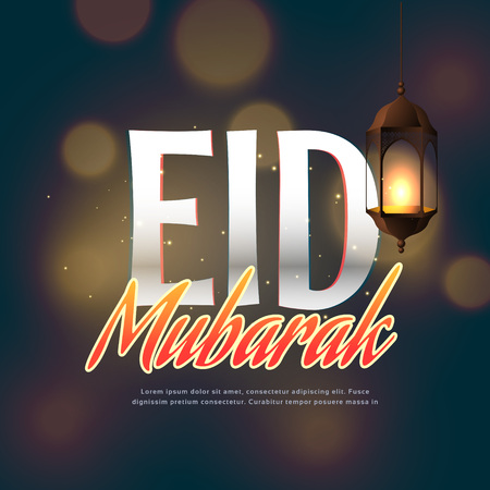 occasions: eid mubarak festival greeting with handing lamp