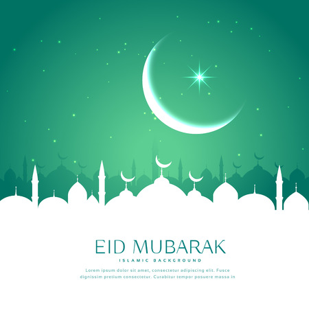 eid greeting background with mosque silhouette in white Illustration