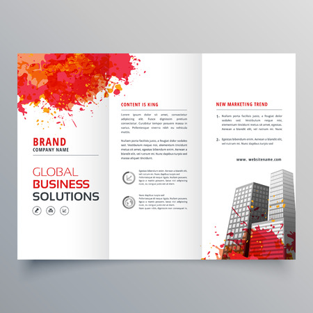 triptych: abstract red ink splatter trifold brochure design template