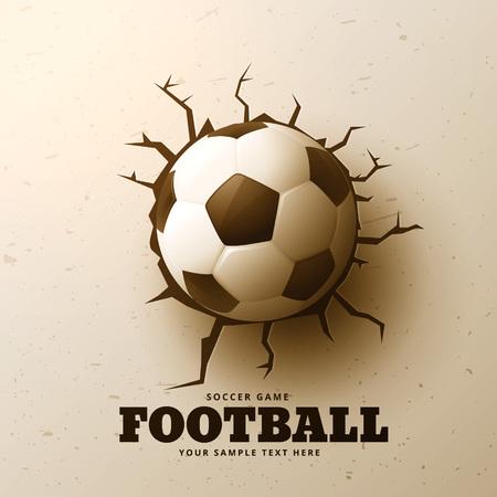 soccer goal: football hitting wall with cracks