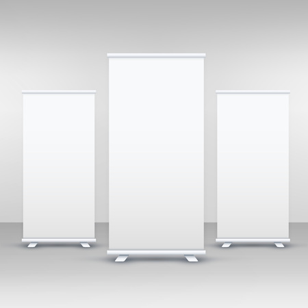 three standee or rollup banner display mockup Banco de Imagens - 81229110