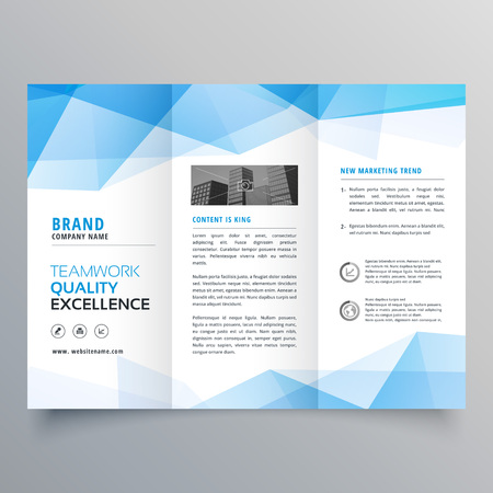 abstract blue geometric trifold brochure design template Illustration