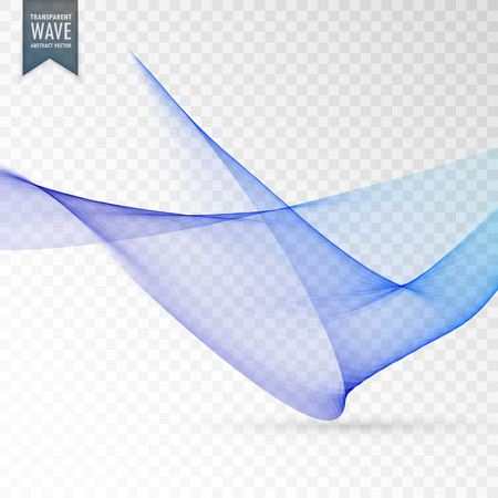 smooth vector blue wave transparent background