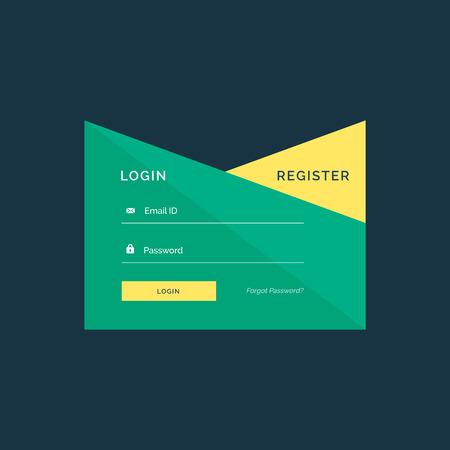 username: creative login template design in geometric style