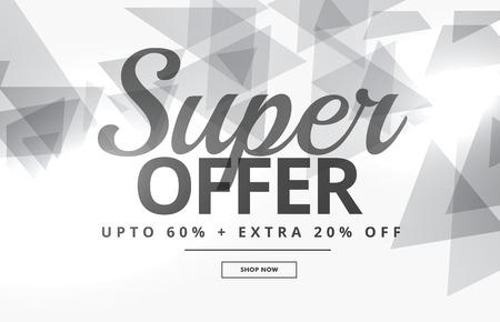 Super verkoopbanner of bonontwerp met grijze driehoeken op witte achtergrond Stock Illustratie