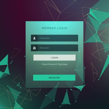 username: creative login ui template form design with technology style background Illustration