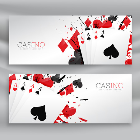 casino playing cards banners set background Ilustração