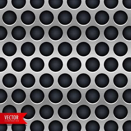 metalen chroom textuur vector achtergrond met donkere cirkels Stock Illustratie