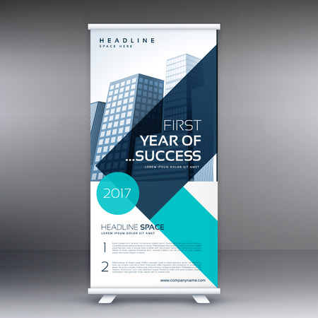 elegant blue geometric standee roll up business banner design template