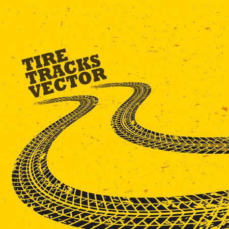 黄色の背景とグランジ タイヤ トラック  イラスト・ベクター素材