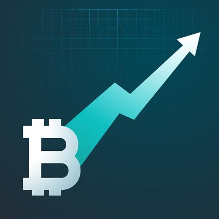 bitcoins opwaartse trend grafiekpijl stijgt op Vector Illustratie