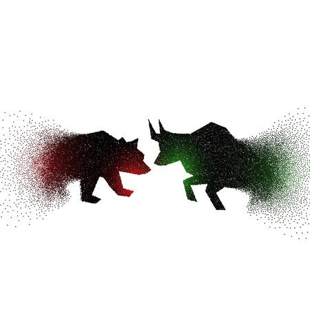 bull and bear concept design made with particles