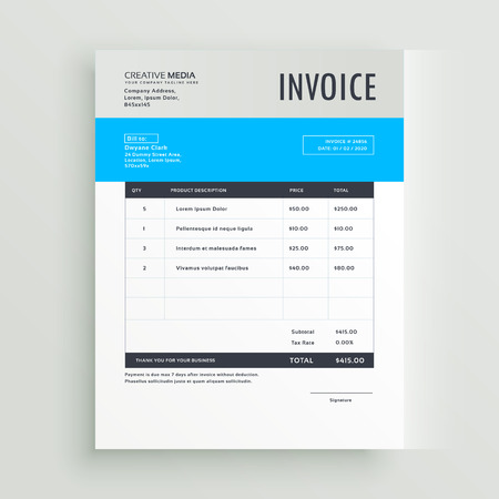 blue invoice template design in simple style