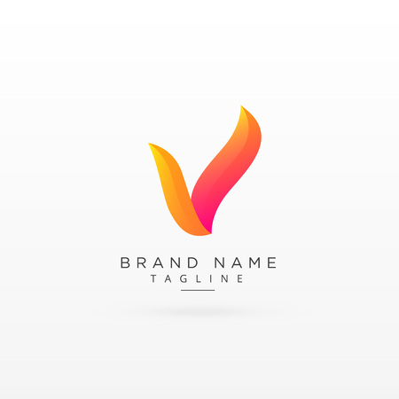 letter V creative colorful logo concept design