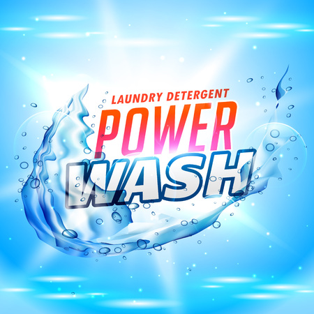 power wash laundry detergent packaging concept design with water splash Иллюстрация